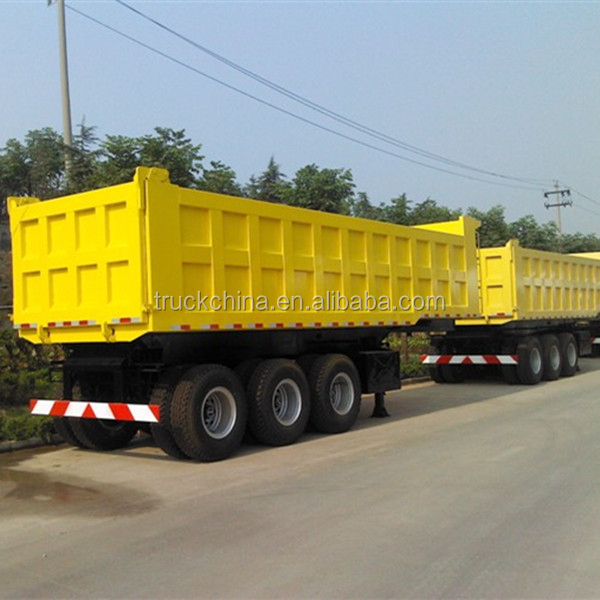 manufacturing 3 axles heavy duty rear flatbed dump tipping semi trailer