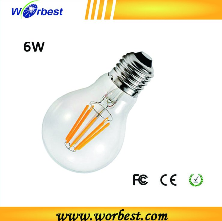 Worbest Factory price 360 degree CE standard E27 220V 6W LED filament bulb 600lm candle lighting UL ES Listed