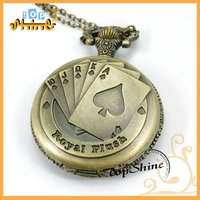 2012 poker pendant watch necklace with antique brass poker pocket watch necklace pendant D01079o