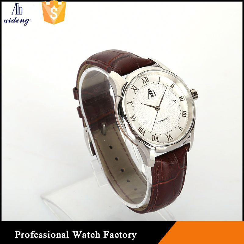 Mechanical Stainless Steel Case Watch Branded Man Leather Bracelet 24Mm