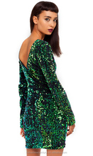 Luxury sexy dazzle bright green flash small sequins long-sleeved dress stretch back deep V