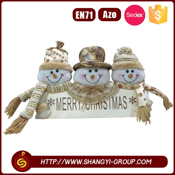 2016 bestseller festival product 3 snowmen holiday gift with wood wroted merry christmas