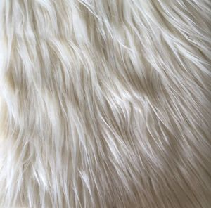 white straight long plushed soft acrylic polyester faux fur fabric