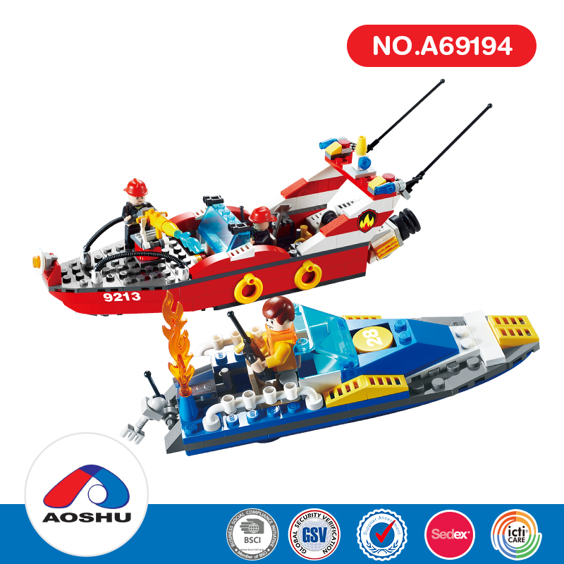 Educational emulational fire fighting water jet kids speed boat with high quality