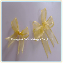 yellow make fabric organza ribbon pull bow