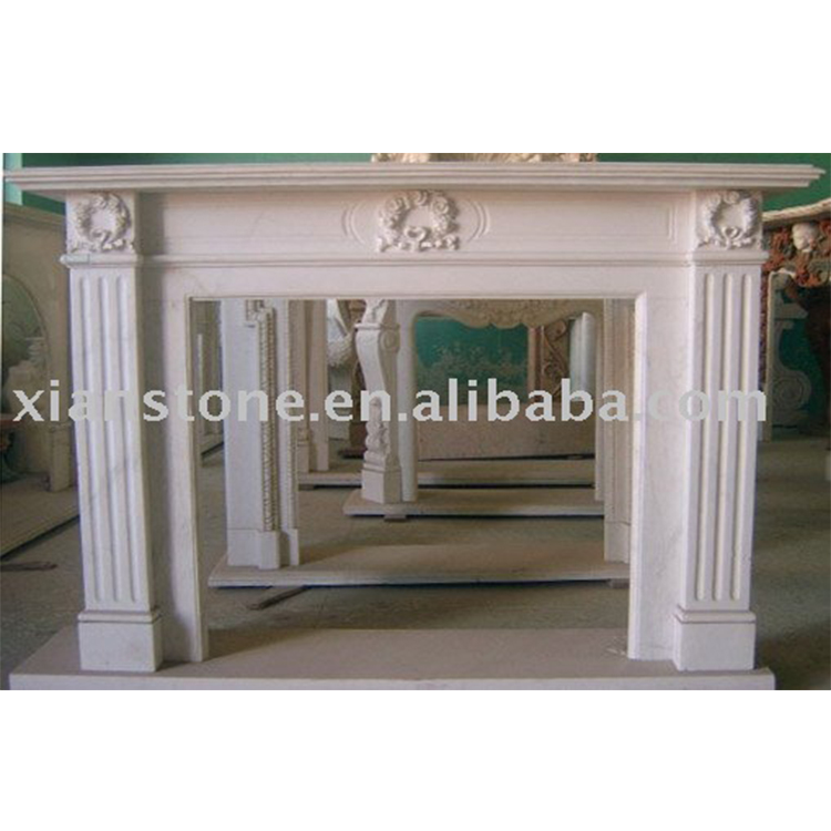 Antique white luxury marble fireplace mantel