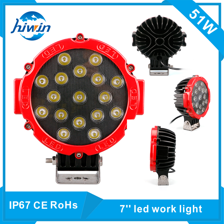 Hiwin 7inch 51w super bright suv/utv /truck led work light