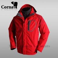 Winter double layer red women windproof 3 in 1 waterproof jacket