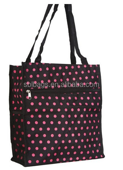 Traveler Polka Dot Print Collection Travel Tote Bag & custom printed 600D tote bags & plain tote bag cotton with logo printing