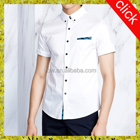 Men's fashion white shirts with short sleeves