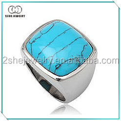 Manufacture newest model semi-previous man turquoise ring