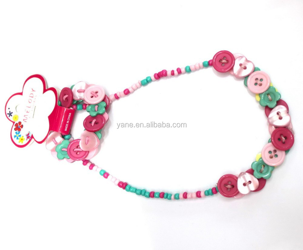 Fashion Glass beaded and Plastic buttons kids chunky necklace