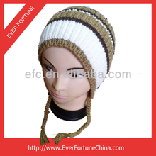 Fancy Kids Knitted Winter Hat with string winter hats with pom poms