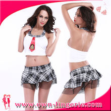 Sexy 2-piece High School Girls Skirt Uniform neck halter High School Girls Skirt Uniform