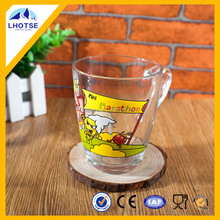 12oz Cute Cartoon Printing Decal Wholesale Drinking Glass Cup from Faqiang Glass Factory