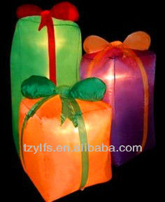 Inflatable air blown outdoor christmas decorations gift boxes led/decorative christmas sweet boxes