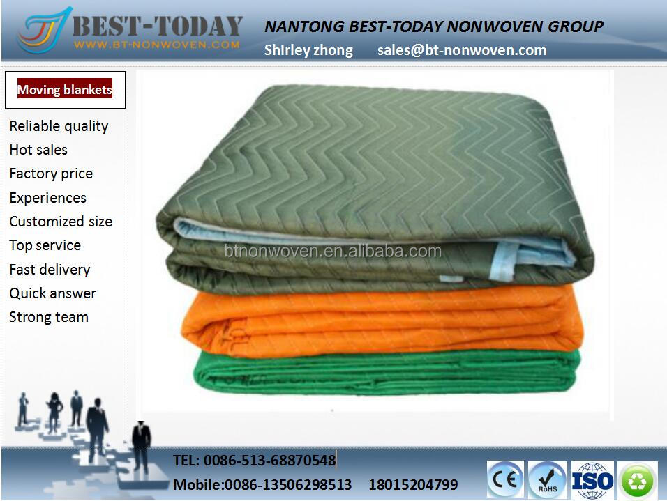 100% Polyester Quilted Furniture Moving Blanket with Recycle Cotton batting