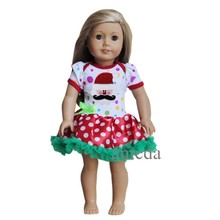 "18"" American Doll Xmas Colorful Red Polka Dots Mustache Santa Tutu Party Dress"