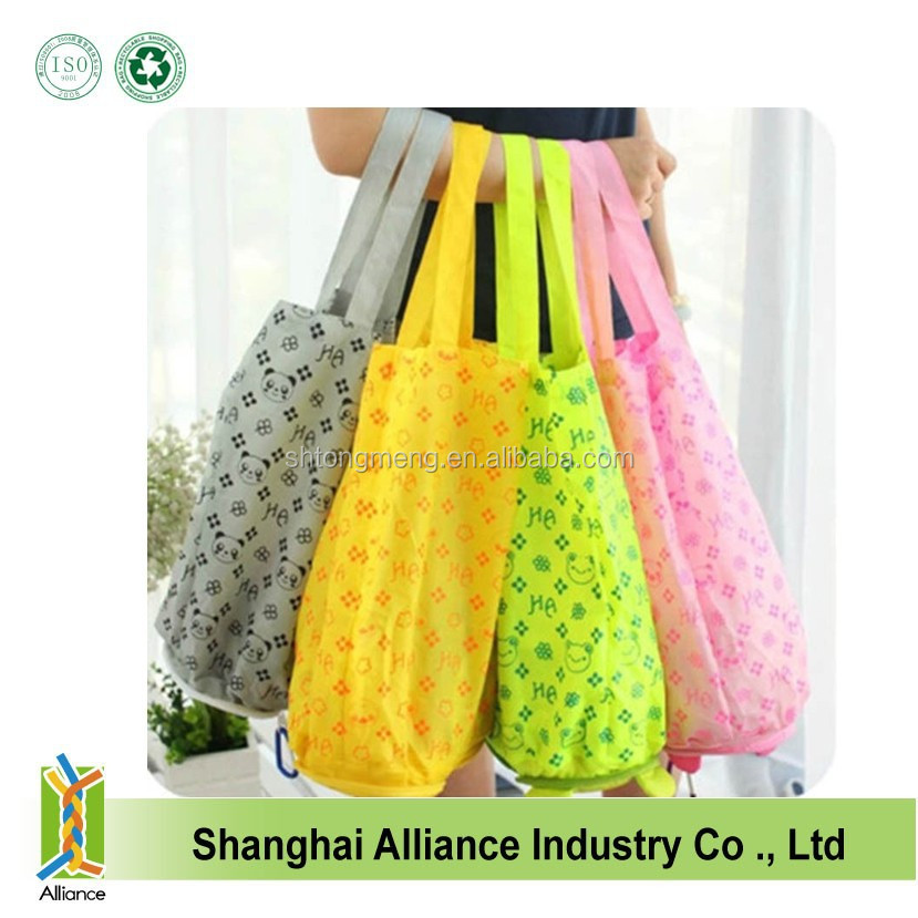 Fashion cute pet shape foldable zipper handbags folded shopping tote bags beauty handle reusable beach bags