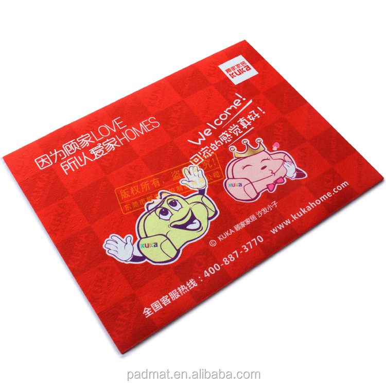ODM customized Red colour and welcome absorb water home door mat