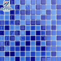 net mounted 12x12 blue color stock cheap glass crytal mosaic tile for kitchen bathroom swimming pool