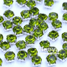color olivine sew on round rhinestones machine cut glass chaton in silver claw for shoes decoration