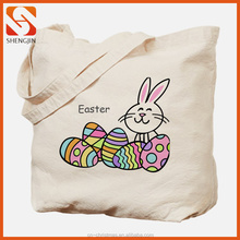 Easter Colorful Eggs and Bunny Printing Canvas Tote Bags