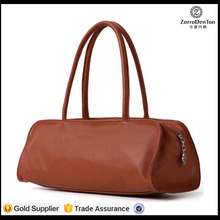 handmade natural smooth calfskin leather handbag for women Europe style lady handbag unique design with RFID lining