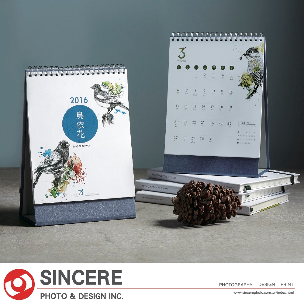 2018 Design wholesale Bird and Flower Custom Desk calendar