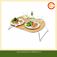 Folding Portable Bamboo Wine and Snack Table for Picnic
