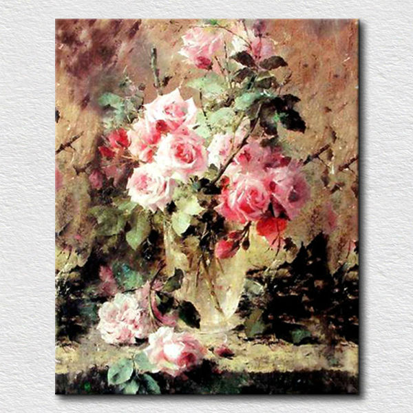 Chinese rose oil painting by handmade-Wall art canvas flower paintings