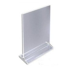 Acrylic Sign Holder / Clear Table Acrylic Card Display / Plastic Upright Menu Ad Frame