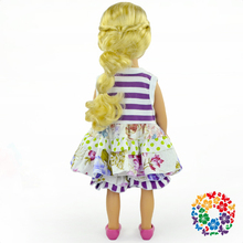 Beautiful American Girl Doll Clothes 18 Inch Dolls Floral Cotton Dress And Ruffle Shorts Doll Clothing Set Wholesale In China