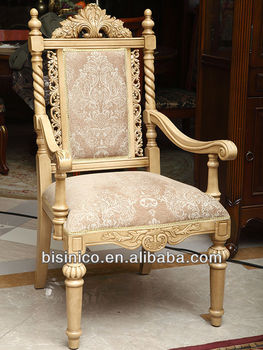 Luxury Europea style hand carved wooden dinning room dining armchair
