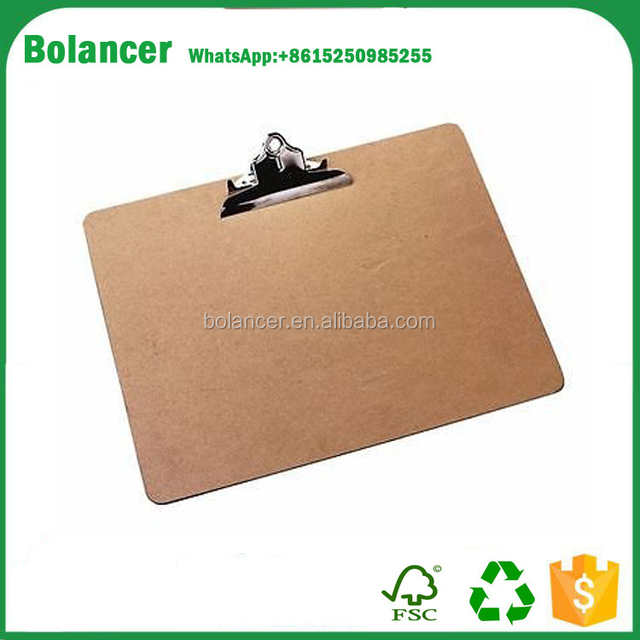 hot sale A3 wooden mdf clipboard with metal power clip