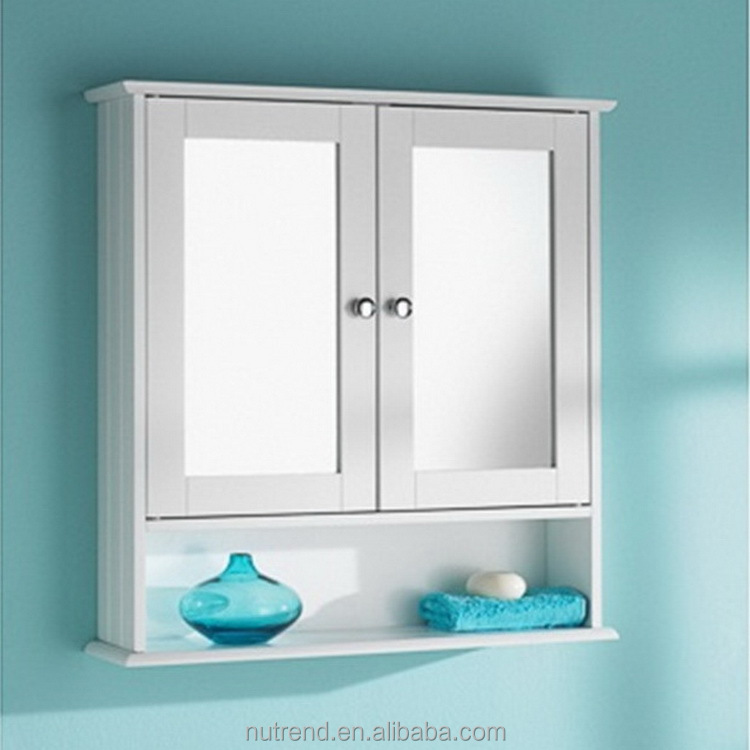 Wooden white mirrored Bathroom Wall Hanging Cabinet designs