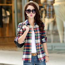 New Camisa Cuadros Casual Plaid Shirt Women Mujer Ladies Blouse Collar Design