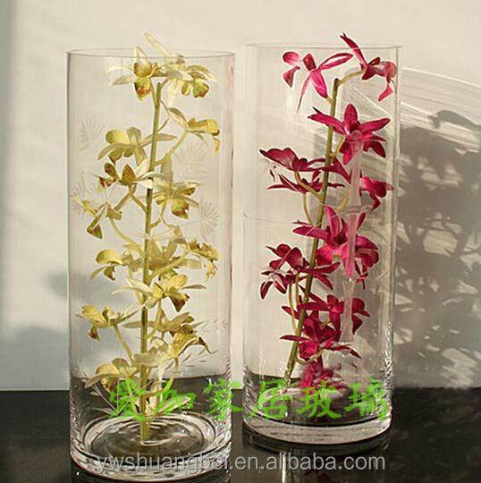 cilindro transparente forma floreros de cristal de la boda al por mayor decoracin - Jarrones Decorados