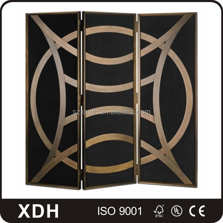 Modern wood and metal folding partition room divider screen