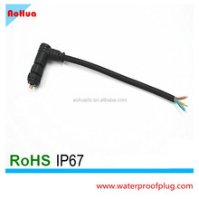 2 to 4pin M12 Nylon assembly L type panel mount waterproof wire connector