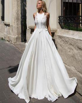 Pure White Wedding Dress Bridal Gown For Women Robe de mariage 2019 Lace Wedding Gown Bridal Dress African Wedding Dresses