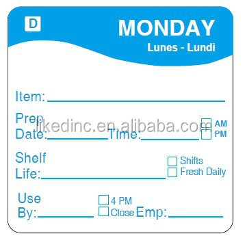2''X2'' Three languages Monday Dissolvable day of the week dot label