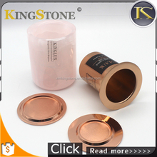 Luxury Pink Marble Candle Holder With Rose Gold Lid