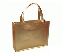 Total One Golden Color Non Woven Bag Light Laminated Printing.