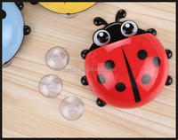 Hot Sale Innovative Design Ladybug Shape Toothbrush Cup Cute Plastic Toothbrush Holder with Suction Cup