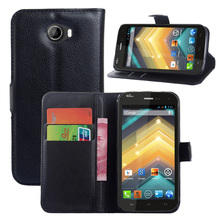 Litchi PU Card Holder Wallet Flip Leather Case For Wiko Barry