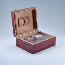 Antique brand logo cedar wood accessories set unfinished wooden cigar box
