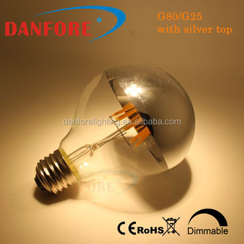 2016 Hot product G25 G80 shadowless Filament led globe bulb with silver top golden top