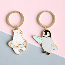 Wholesale Alloy Oil Drip Cute Penguin and Polar Bear Pendant Metal Key Chains