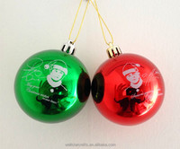 Wholesale ceiling/tree hanging blowout shiny plastic/glass printable christmas ball decorations
